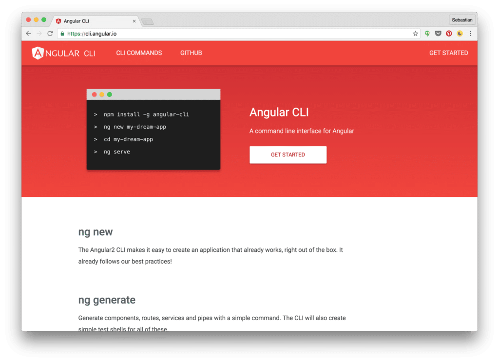 Angular 2 CLI Project Homepage