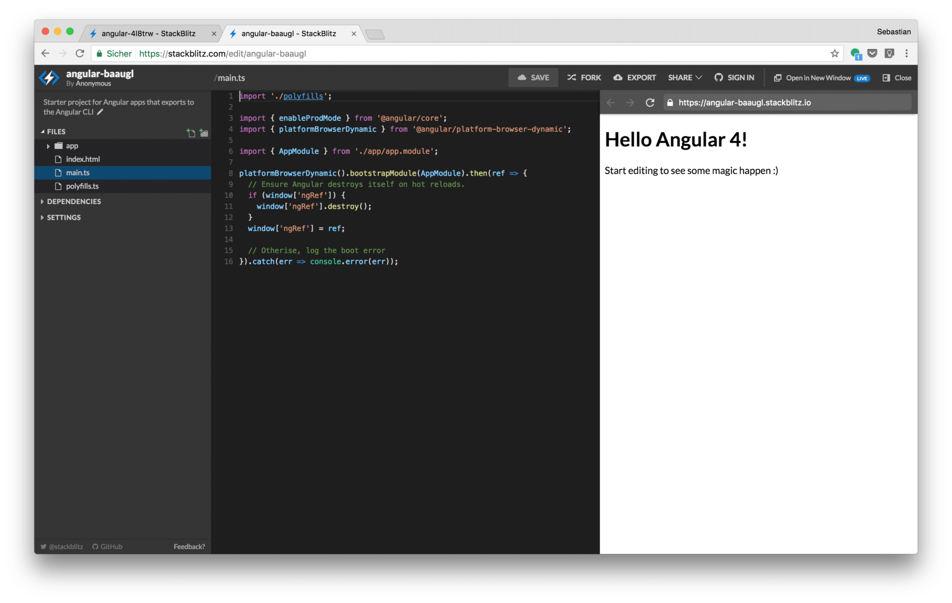 StackBlitz - Online Code Editor For Angular and React